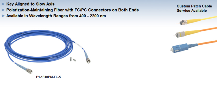 Thorlabs保偏光纤跳线,FC/PC接头-江阴韵翔光电技术有限公司